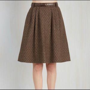 ModCloth Midi Wool Blend Polka Dot Skirt - 1X